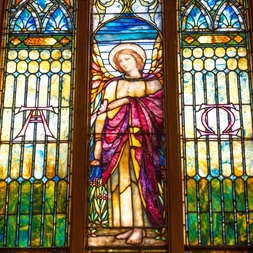 A picture of a stained glass window.